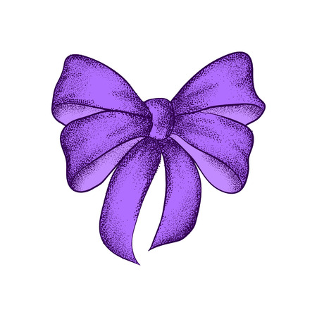 Decorative realistic purple bow isolated on white background. A bow for a gift box hand drawn vector illustration.