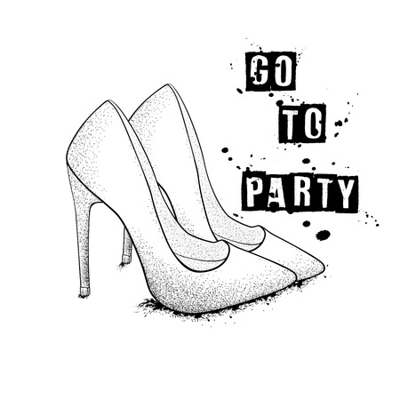 The image of the fashion stylish shoes. Go to the party. Hand drawn vector illustration.