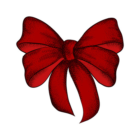 Decorative realistic red bow isolated on white background. A bow for a gift box. Hand drawn vector illustration.