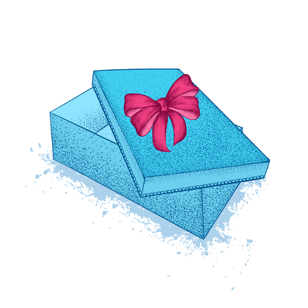 Blue gift box with bow. St. Valentines Day. A festive gift. Hand drawn vector illustration.