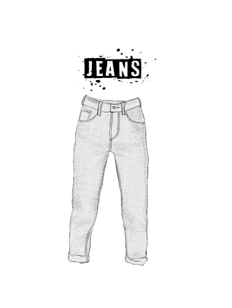 Vintage womens jeans in front views. Isolated on white background. Casual style. Hand drawn vector illustration for your fashion design.