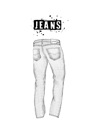 Vintage mens jeans in back views. Isolated on white background. Casual style. Hand drawn vector illustration for your fashion design.