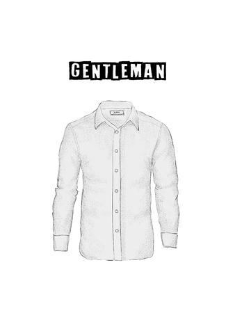 Vintage mens shirt in front views. Isolated on white background. Casual style. Hand drawn vector illustration for your fashion design. Иллюстрация