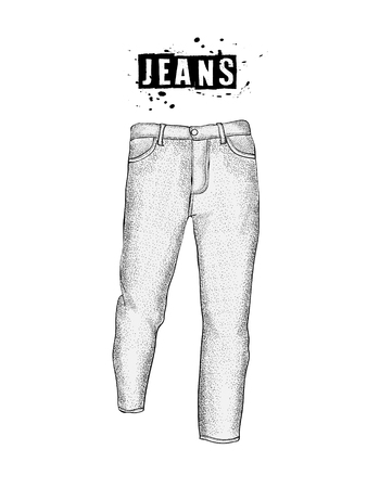 Vintage mens jeans in front views. Isolated on whitebackground. Casual style. Hand drawn vector illustration for your fashion design.