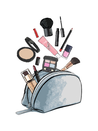 Make up products spilling out of a cosmetics bag and isolated on a white background. Vector illustration.