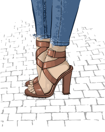 Beautiful women legs in fashionable high heel shoes. Hand drawn sketch. Vector illustration.