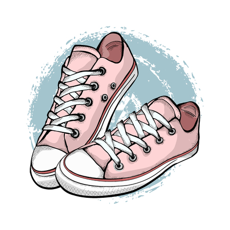 A pair of pink sneakers isolated on white background.  Hand drawn vector illustration.