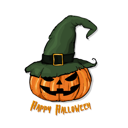 An illustration of a cartoon pumpkin in witch hat.  Happy Halloween. Hand drawn vector illustration.