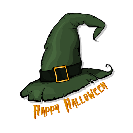 An illustration of a cartoon Halloween witch hat.  Happy Halloween. Hand drawn vector illustration. Иллюстрация