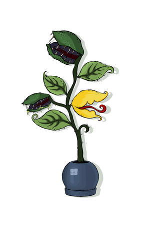 Venus Flytrap or Dionaea muscipula in the round flowerpot. Hand drawing and colored isolated on a white background, traditional Halloween symbol. Hand drawn vector illustration. Иллюстрация