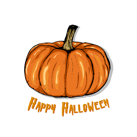 An illustration of a cartoon pumpkin.  Happy Halloween. Hand drawn vector illustration.