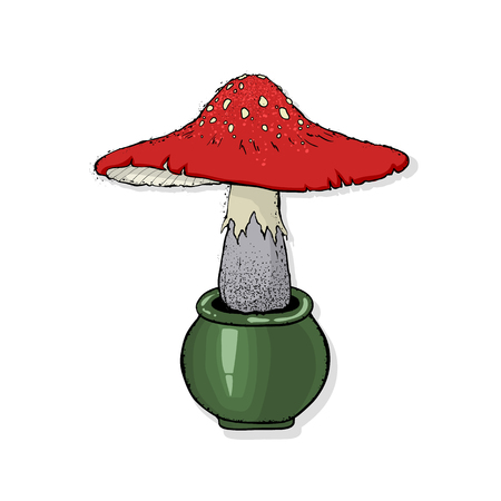 Vector illustration of a fly-agaric. Poisonous forest mushrooms. Happy Halloween. Hand drawn vector illustration.