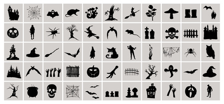 Happy Halloween graphic set. Halloween collection, witch attributes, creepy and spooky elements for halloween decorations, doodle silhouettes, sketch, sticker.  Hand drawn vector illustration.