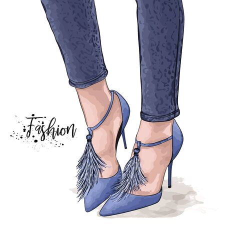 Hand drawn beautiful female legs. Stylish women blue shoes and jeans. Sketch Vector illustration. Ilustrace