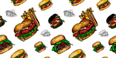 Vector graphics of fast food, burgers, hot dogs and sandwiches.