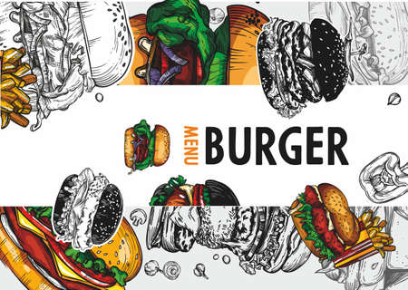 Vector graphics of fast food, burgers.