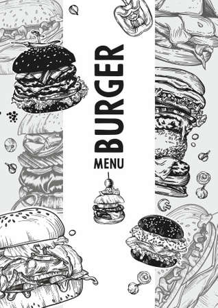 Vector graphics of fast food, burgers menu.