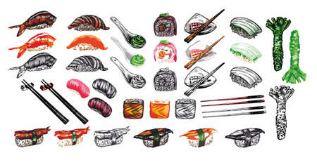 Sketch of Japanese and Chinese cuisine, rolls, sushi, colorful banners. Design templates with hand-drawn seafood, lobsters, mussels, sushi, rolls, Chinese food, Japanese food. A linear pattern.  イラスト・ベクター素材
