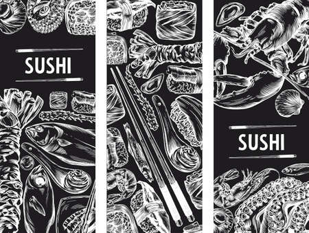 Vector graphics of sushi, rolls, seafood, banner sketches. Pattern, print, menu cover. High detail, high-quality drawing, line drawing.