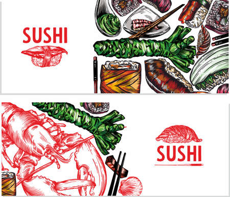 Vector color graphics of sushi, rolls, seafood, banner sketches. Pattern, print, menu cover. High detail, high-quality drawing, line drawing.