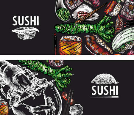 Raster graphics of sushi, rolls, seafood, banner sketches. Pattern, print, menu cover. High detail, high-quality drawing, line drawing.