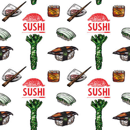 Vector print of rolls, sushi. Pattern. Line style, high detail. Rolls, sushi, wasabi, Chinese and Japanese food.