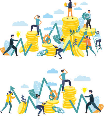 Vector illustration in a flat style. Teamwork. Conquering the peaks. Financial pyramid. Rivalry. Mountains of coins. Business idea. Vecteurs