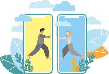 Vector graphics. Group of people. Teamwork. A man and a woman. Mobile phone. The concept of referral marketing. The program of loyalty of friends, the method of advancement.