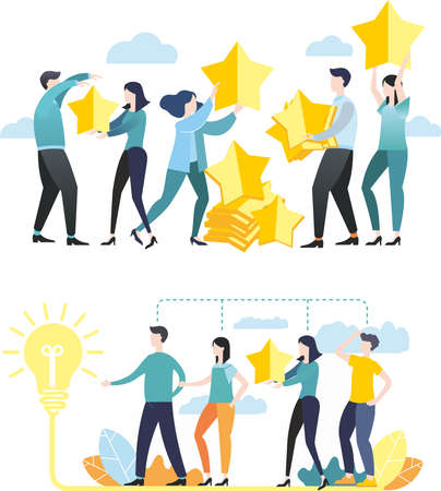Vector illustration. Flat design. Images for business. Teamwork. Problem solution. Brainstorming. Striving for a goal. Group of people. Colleagues.