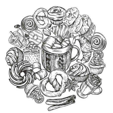 Vector illustration. Black and white line graphics. Coffee theme. Cover for the menu. Banner or postcard. Pastries, hot coffee.