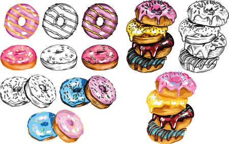 Vector illustration of donuts. Multicolored, attractive, bright donuts with colored glaze. For menu decoration or different prints.