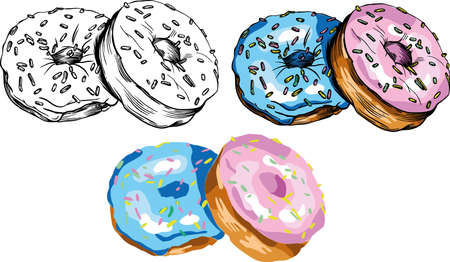 Vector illustration of donuts. Multicolored, attractive, bright donuts with colored glaze. For menu decoration or different prints. 向量圖像