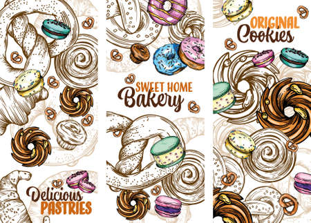 Set of vector greeting cards with pastries, buns, cookies, donuts and other Goodies. Colorful illustration for the cover and menu. Ilustração Vetorial