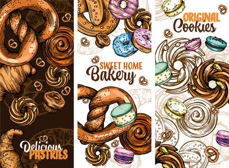 Set of vector greeting cards with pastries, buns, cookies, donuts and other Goodies. Colorful illustration for the cover and menu.