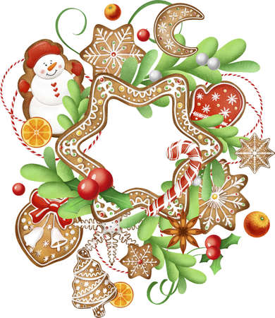 Christmas round vector greeting card. With Christmas toys, gingerbread, Christmas trees, gifts and berries, gingerbread house. Design for a holiday leaflet or banner.