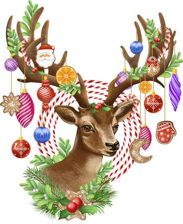 Christmas deer illustration with Christmas toys and mistletoe sprigs.
