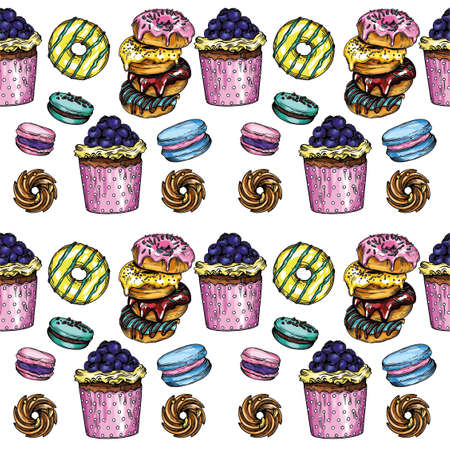 Seamless vector print of baked goods, cookies and coffee. Bretzeli, cupcakes, macaroons, buns, hot cappuccino. Vektoros illusztráció