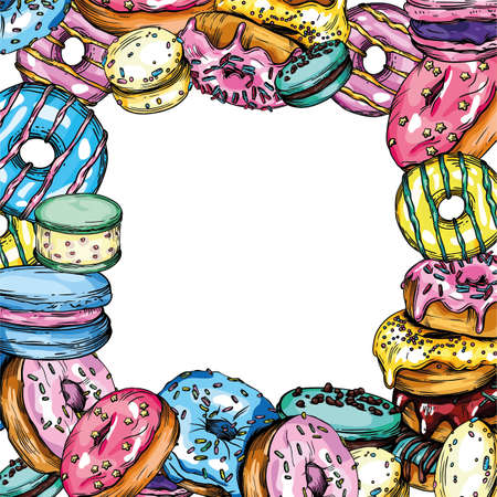 Vector illustration of donuts. Different donuts, macarons, cookies, icing, decoration. Bright postcards and colorful banners.