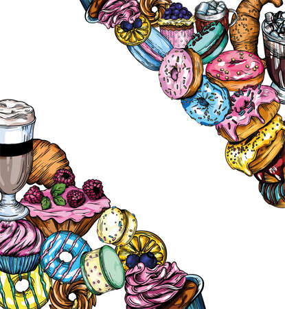 Vector illustration of donuts, coffee, pastries. Postcard, banner, screen saver. Bright illustrations of bagels, donuts, cookies, coffee, cappuccino, macaroons.