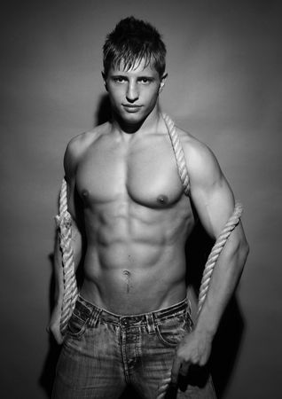 muscled: Muscled model in studio Stock Photo