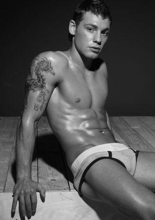 macho: Male model posing in studio