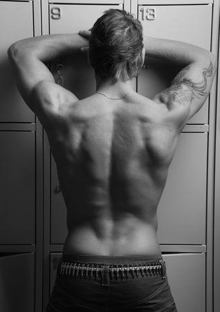 young male model: Modelo de joven masculina en las casillas clave