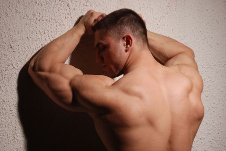 hombres gays: Bodybuilder posando en el estudio que muestra la espalda