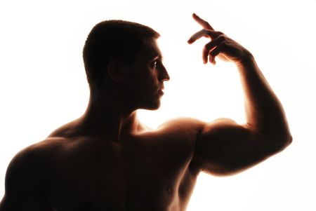 Bodybuilder on white background photo