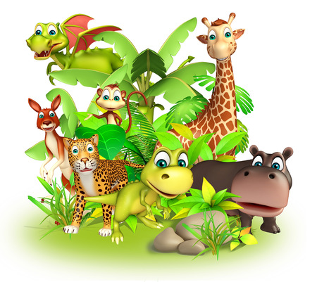 group of animals: 3d rendered illustration of wild animal in group