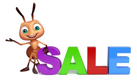 3d rendered illustration of Ant cartoon character with big sale sign Reklamní fotografie