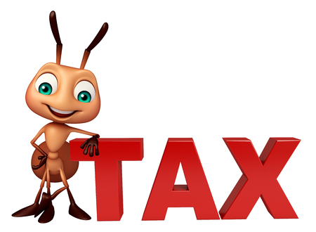 obligation: 3d rendered illustration of Ant cartoon character with tax sign Stock Photo