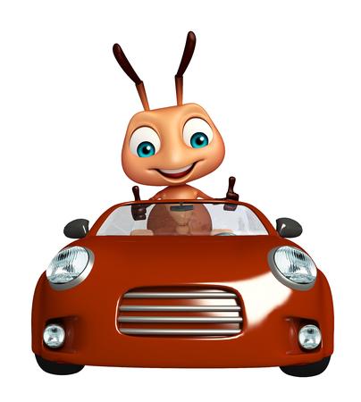 hormiga caricatura: 3d rindi� la ilustraci�n de personaje de dibujos animados hormiga con el coche