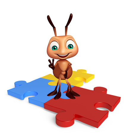 jig saw: 3d rendered illustration of Ant cartoon character with puzzle