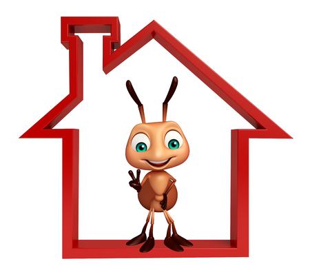 hormiga caricatura: 3d rindi� la ilustraci�n de personaje de dibujos animados con la hormiga signo de casa